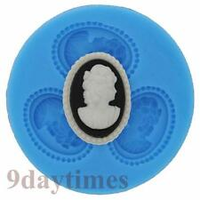 Victorian Lady Cabochon Silicone Mold For Polymer Clay Fimo Cameo 28x20mm A228