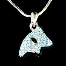 w Swarovski Crystal Blue ~Phantom of the Opera~ Masquerade Mask Pendant Necklace