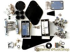 DIY ELECTRIC GUITAR KIT BRIDGE PICKUPS MACHINES BLACK PLASTICS POTS KNOBS LP