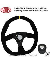 SAAS HYUNDAI EXCEL Black Suede D shaped Sports Steering Wheel & Boss Kit Combo