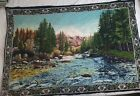 Vtg 1970s Forest and Mountains Tapestry 57 × 40 from Turkey