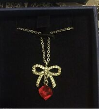 Authentic Swarovski Crystal Bow Red Cube Necklace  Modesty