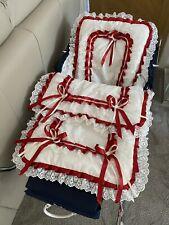 Beautiful Cream  And Red Romany Pram Set Suitable Dolls Silver Cross Pram