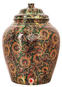 Printed Design Copper Water Dispenser Pot Matka Storage 10 L Bottle Green
