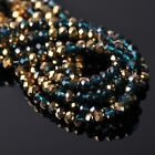 200pcs 6x4mm Rondelle Faceted Crystal Glass Loose Beads Gold&Peacock Blue