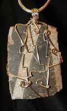 Black & White Anasazi sherd wire wrap pendant necklace pottery artifact #503