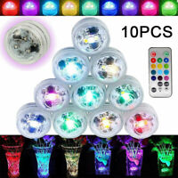 10x Waterproof LED RGB Submersible Light Party Vase Lamp With Remote Control UK