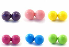 Candy Stud Earrings 11mm Various Pastel Colours Faux Pearl Plastic Back Ball