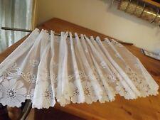 "New White Filet Lace Curtain Panel 67Wx23.5"" Floral Scalloped Hem Nip"