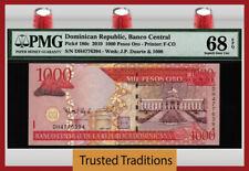 TT PK 180c 2010 DOMINICAN REPUBLIC 1000 PESOS ORO PMG 68 EPQ SUPERB FINEST KNOWN