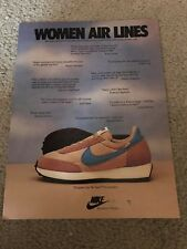 Vintage 1970s NIKE TEMPEST WAFFLE Running Shoes Poster Print Ad WOMEN AIR LINES