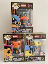 Funko Pop! Marvel Blacklight Bundle Of 3 Doctor Strange 651 Thor 650 Captain 648
