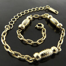 BRACELET ANKLET GENUINE REAL 18K YELLOW G/F GOLD SOLID FILIGREE ANTIQUE DESIGN
