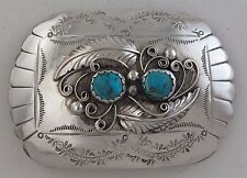 Southwestern Sterling Silver & Turquoise Ornate Applique Belt Buckle
