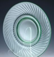 "Vintage Imperial Twisted Optic Green Depression Glass 8"" Plate Uranium Glows!"