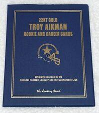 NFL DANBURY MINT 22KT GOLD 2 CARDS BOOKLET - TROY AIKMAN - DALLAS COWBOYS
