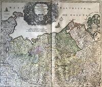 Johann Baptist Homann 1664-1724 Kupferstich Landkarte Mecklenburg-Vorpommern