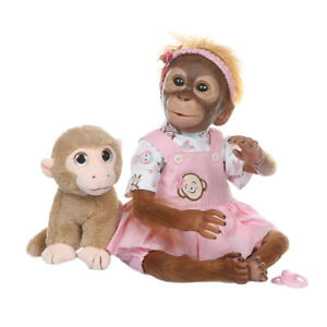 Handmade Realistic Reborn Monkey Doll 21in with Clothes Kids Baby Gift
