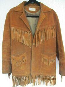 Herren Wildleder Western Style Cowboy Lederjacke mit Fransen 36US Sioux Falls