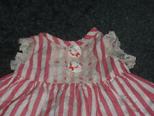 Vintage Doll Dress, candy-striped satin & lace, hat buttons, 1960s, medium size