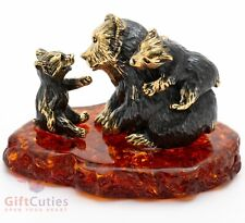 Solid Brass Amber Figurine of a Bear mama playing with her cubs IronWork