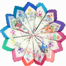 1pc Randomly Sent Cotton Square Handkerchief Flower Color Embroidered Rim E
