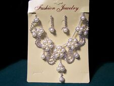 Fashion Jewelry Faux Peral & Rhinestone Necklace and Earring Set