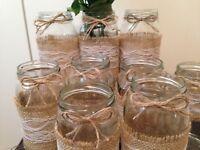 10 X Vintage/Rustic Wedding Jars Glass Centerpiece Hessian