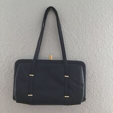 Sereta Black Leather Small Purse Handbag with Gold Accents