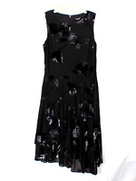 DKNY Asymmetrical Black Flroal Dress Size 12