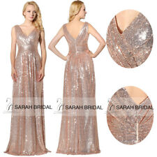 Formal Long Sequin Bridesmaid Evening Dresses Plus V-neck Women Party Prom Gowns