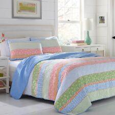 King Coastal Bedding Set Cotton Quilt Comforter Bed Cover Beach House 3 Piece