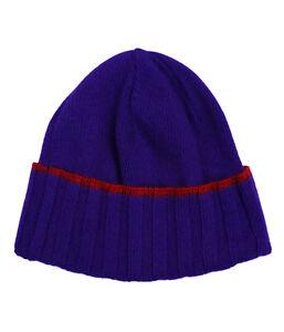 Versace VHB0281 0001 Purple Knitted Beanie Cashmere Blend Hat