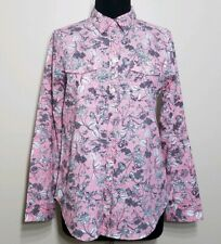 Croft & Barrow Shirt Womens Medium Floral Button Long Sleeve Pink Black Outlined