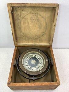 Saura Keiki Seisakusho Co. Ltd Compass Ship Antique Vintage In Box Marine Ship