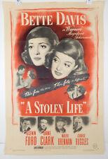 A STOLEN LIFE 1946 ORIGINAL MOVIE POSTER - BETTY DAVIS - GLENN FORD