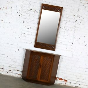 ON SALE! MCM Entry Console Cabinet and Mirror Basket Weave Style Lane Perception