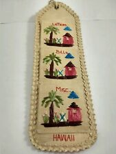 Vintage Embroidered Hawaii Wall Hanging, Letter Holder, Mail Sorter, Kitsch