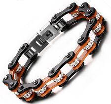 7.87'' AAA Crystal Bangle Stainless Steel Orange Motorcycle Chain Bracelet Bling