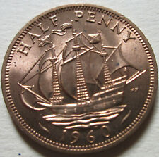 1960 Great Britain Half Penny Coin. RED UNC. (W218C)