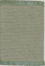 "Dollhouse Miniature Woven Accent Rug in Sage Green, Lt Blue & Tan ~  9"" x 5 3/4"""