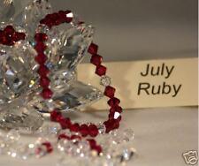 Birthstone Bracelet,July Ruby,Swarovski Crystal,stretch