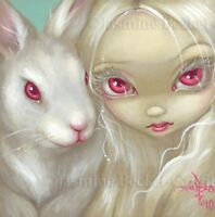 Fairy Face 100 Jasmine Becket-Griffith Art Fantasy White Rabbit SIGNED 6x6 PRINT