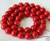 6mm 8mm 10mm 12mm 14mm Coral Red South Sea Shell Pearl Round Loose Beads 15""