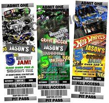 Monster Truck Jam Birthday Party Ticket Invitations