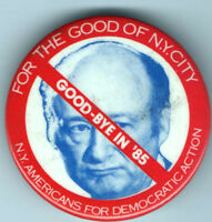 Old 1985 anti Ed KOCH Mayor NYC pin ADA pinback LEFT Progressive button