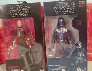 Star Wars Black Series 6 inch LOT Carbonized Darth Vader/ Count Dooku Sealed