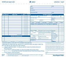 Adams GT3870 3 Part Carbonless Garage Auto Repair Tickets - 5 Packs of 50 = 250