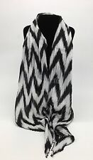 Black & White Finely Pleated Scarf New