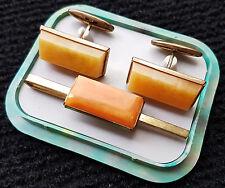 Vintage USSR Amber Cufflinks and Tie Clip set 1970's